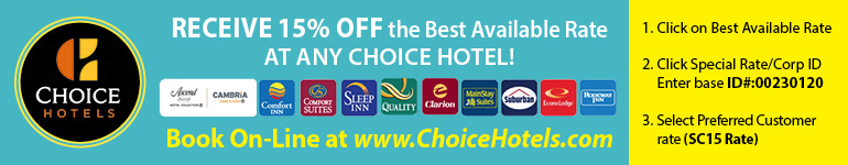 Receive 15% off the best available rate at any Choice Hotel
