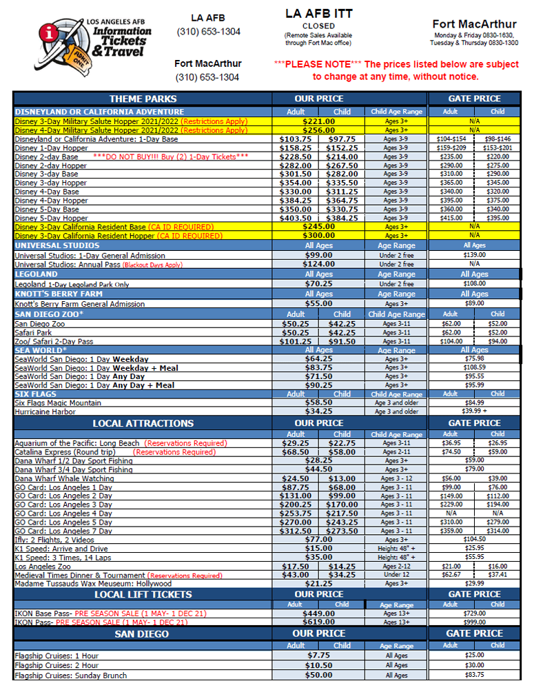 LAAFB ITT Discount Price List page1 04-2021